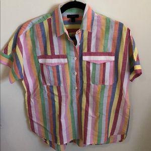 Rainbow linen Jcrew pullover